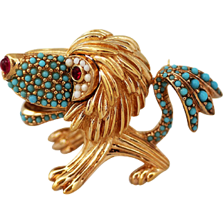 Ciner Lion - King of the Jungle Figural Brooch or Pin