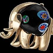 Vintage EISENBERG Millefiori Glass Belly Elephant