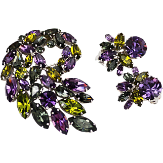 Sherman Purple Green Rhinestone Demi-Parure