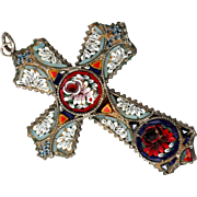 Italian Micro Mosaic Cross, Marked Italy, Colorful