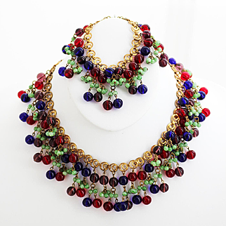 Amazing Haskell Bib Necklace and Matching Bracelet - Colorful Glass Round Beads, Frank Hess 1940s