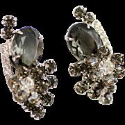 D&E JULIANA Black Diamond Rhinestone Vintage Earrings