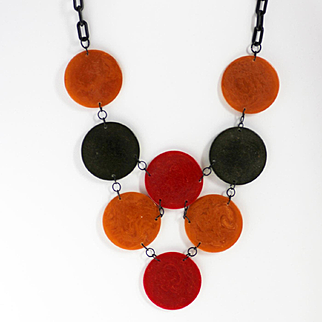 Bakelite Circle Bib Necklace with Lucite Chain, End-of-Day Colors 70s