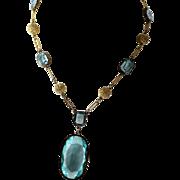 Sparkling Czech Blue Glass Necklace w/ Decorative Chain