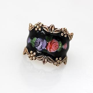 Vintage Sterling Black Enamel Pink, Purple Floral Vargas Ring Sz 5.5