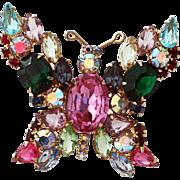 Bejeweled Butterfly Brooch, Fruit Salad Open Back Stones