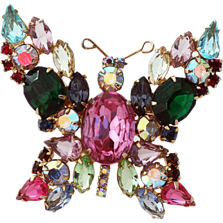 Bejeweled Butterfly Brooch, Fruit Salad Open Back Stones