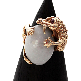 14k Yellow Gold Dragon and Pale Jade Ring