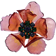 Vintage Flower Brooch Pin with Colorful Cellulose Acetate Petals, Pink, Purple Tones