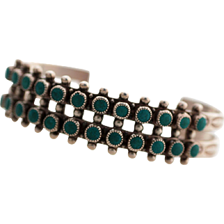 Native American Zuni Old Pawn Sterling Petit Point Turquoise Cuff Bracelet