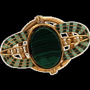 Malachite Enamel Czech Brooch