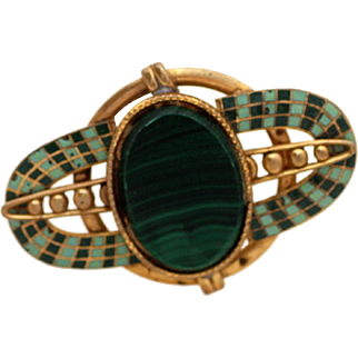 Malachite Enamel Czech Brooch