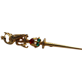 Hattie Carnegie Serpent and Phoenix Sceptor Brooch Pin