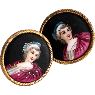 French Earrings with Hand Painted Portraits, Exceptional Artistry