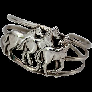 Carol Felley Three Mustang Sterling Bracelet, Wild and Beautiful