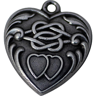 Sterling Puffy Heart with Love Knot and Two Intertwined Hearts Repousse
