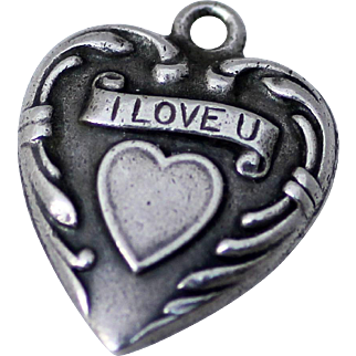 Sterling Puffy Heart Detailed with I Love U, Repousse