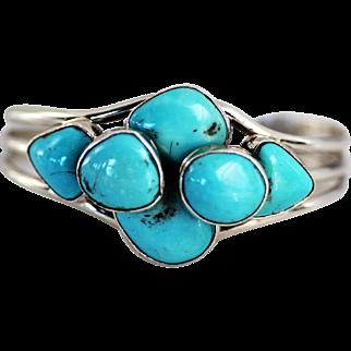 Navajo Sterling Bracelet, Sleeping Beauty Turquoise Signed