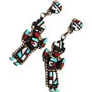 Zuni Sterling, Native American Turquoise Rainbow Man Earrings, Signed