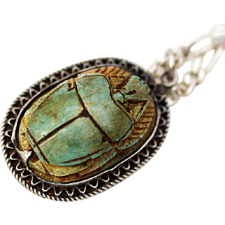 Sterling Silver Pendant with Semi-Precious Scarab and Hieroglyphics on Back