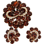Vintage Brooch Earring Set – Juliana, D&E or Weiss Glowing Brown Rhinestone Set, Unsigned