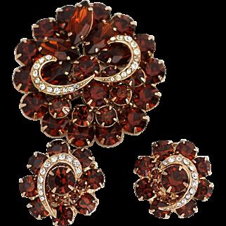 Vintage Brooch Earring Set – Juliana, D&E or Weiss Glowing Brown Rhinestone Set, Unsigned