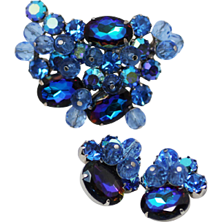 Juliana D&E Heliotrope Blue Brooch and Clip Earrings