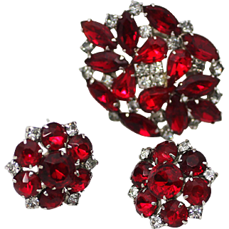 Ruby Red and Clear Rhinestone Brooch and Earrings