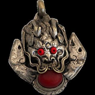 Vintage Dragon Pendant, Red Eyed Silver-tone