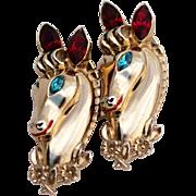 Coro Rhinestone Horse Pin Brooch Duette, Daily Double