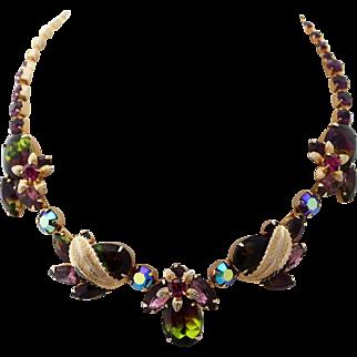 Amazing WEISS Tourmaline - Purple, Pink, Green Art Rhinestone Necklace
