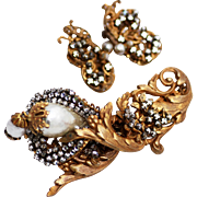 Lustrous Miriam Haskell Glass Baroque Pearl Brooch & Earrings