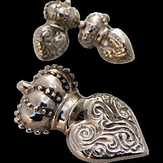 Natacha Sterling Heart and Crown Brooch & Earrings