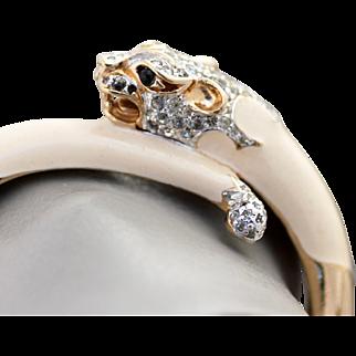 Panetta Panther Rhinestone and Enamel Bracelet - Gorgeous Vintage