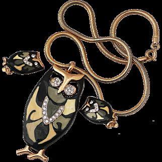 Eisenberg Owl Enameled Demi - Pendant Necklace & Earrings
