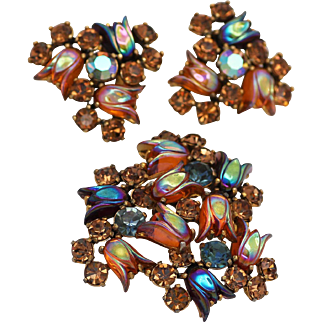 Schiaparelli Shimmering and Iridescent Tulip Brooch and Matching Earrings