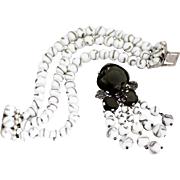 Christian Dior Demi - Bracelet and Brooch, Icy White Glass with Gray Rhinestones