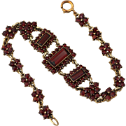 Antique Victorian Edwardian Bohemian Rose Cut Garnet Bracelet
