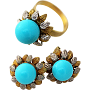 Persian Turquoise 14k Flower Gold Ring and Earrings
