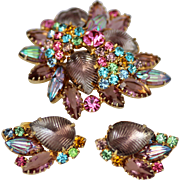 Brooch and Earrings Set Molded Glass Rhinestones, Rich Purple and Pink