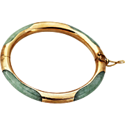 14K Gold JADE Bangle Bracelet with Floral Engraved Accent, Jade Button Closure, Safety Chain
