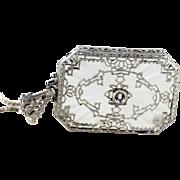 Art Deco Camphor Glass and Filigree Pendant Necklace