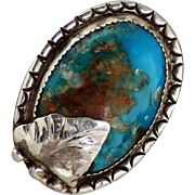 Old Pawn Sterling Turquoise Ring with Leaf Accent, Native American Signed