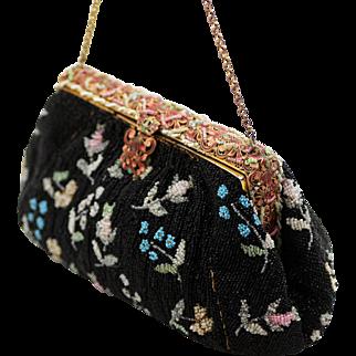 French Beaded Evening Bag, Gorgeous Enamel Clasp