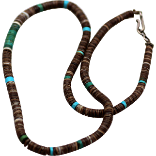Vintage Native American Heishi Shell Turquoise Necklace