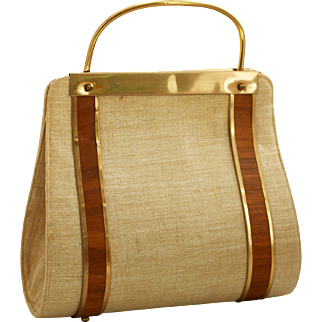 Vintage MidCentury Purse with Wood Trim and Slim Silhouette
