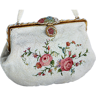 Vintage French Beaded Purse with Tambour Embroidery and Ornate Beaded Frame