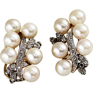 Elegant Cultured Pearl and Diamond Earrings in 14K Gold Vintage Estate 1940s - 1950s
