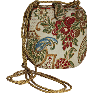Italian Rodo Shoulder Bag with Rich Tapestry Fabric and Gold Chain