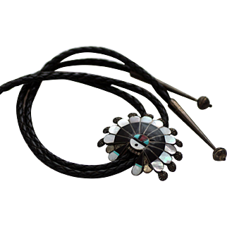 Zuni Inlay Turquoise, Coral, Jet, MOP - Full Sun, Sterling Bolo Tie
